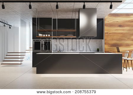 White and wooden kitchen interior with a black counter a concrete backsplash a futuristic staircase and a concrete floor. 3d rendering mock up