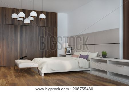 White And Beige Bedroom, Side