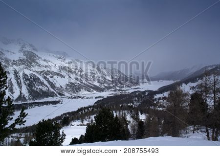 landscape of sils during winter in switzerland