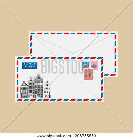 Air mail envelope with stamps, postmarks and Old Typical Netherlands houses, Amsterdam, Netherlands. Vector illustration