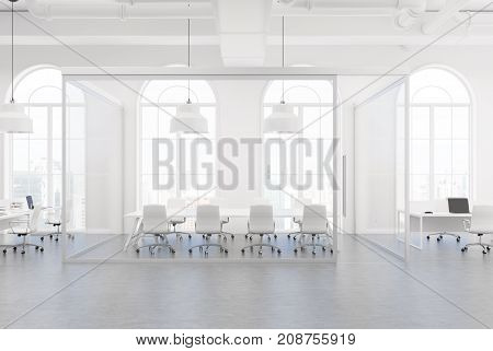 White And Glass Office, Meeting Room Close Up
