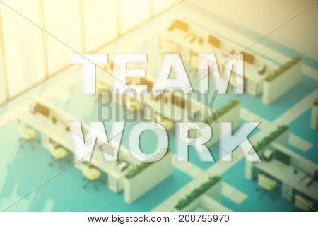 Blue Floor Office, Top View, Team Work