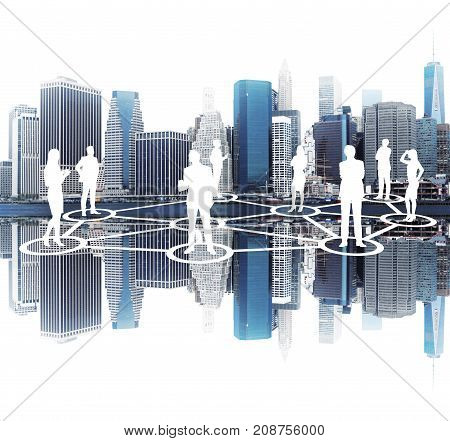 Glowing people silhouettes and graphs. A network sketch. They are drawn against a cityscape background. Concept of a team work Toned image double exposure