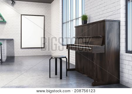 Modern cafe interior with white brick walls tall windows a concrete floor and a piano. A framed poster on the wall. 3d rendering mock up