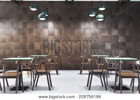 Wooden Cafe Interior, Tables And Chairs