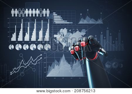 Close up of a black and red robot hand pointing at the viewer. Dark blue background with graphs and infographics. 3d rendering mock up
