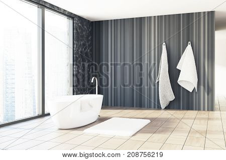 Black Marble And Wooden Bathroom, White Tub