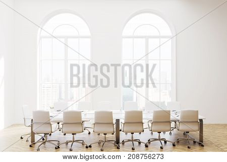 White Loft Meeting Room Interior, Front View