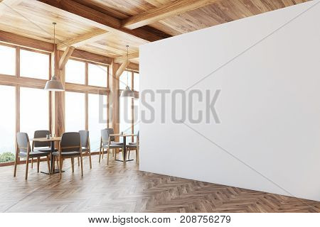 Wooden Cafe Interior, White Wall Side