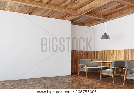 Wooden Cafe Interior, White Wall Corner