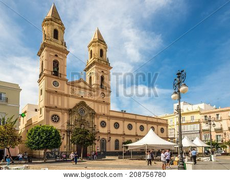 CADIZ,SPAIN - SEPTEMBER 30,2017 - View at the church of San Antonio in Cadiz. Cadiz is the oldest continuously inhabited city in Spain.