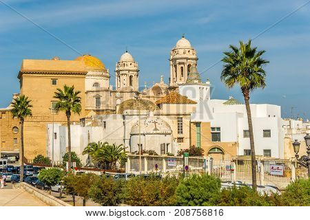 CADIZ,SPAIN - SEPTEMBER 30,2017 - View at dome and roofs of cathedral in Cadiz. Cadiz is the oldest continuously inhabited city in Spain.