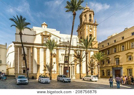 CADIZ,SPAIN - SEPTEMBER 30,2017 - View at the church of Santiago in Cadiz. Cadiz is the oldest continuously inhabited city in Spain.