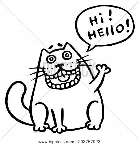 Friendly cat says hello. Speech Bubble. Vector Illustration. Funny cool emoticon character. Cheerful pet.