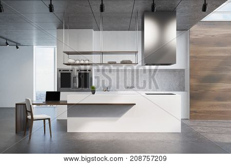 White And Wooden Kitchen Counter