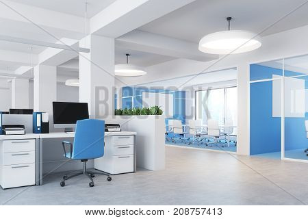 Upscale office interior with white and bright blue walls a concrete floor rows of computer desks and flower beds. Side view. 3d rendering mock up