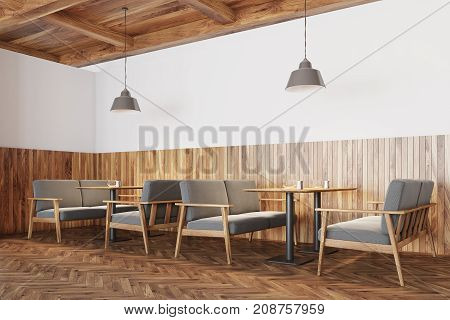 White And Wooden Cafe Interior, Sofas Side