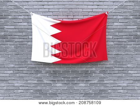 Bahrain flag on brick wall. 3D illustration