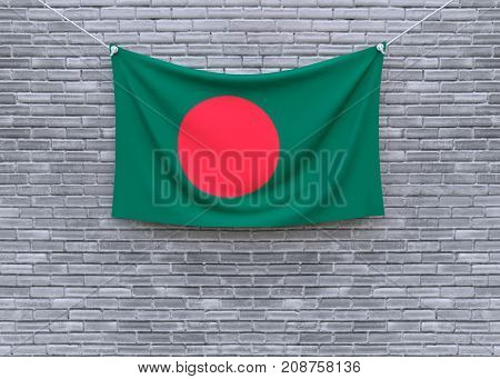 Bangladesh flag on brick wall. 3D illustration