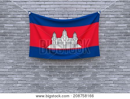 Cambodia flag on brick wall. 3D illustration