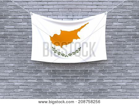 Cyprus flag on brick wall. 3D illustration
