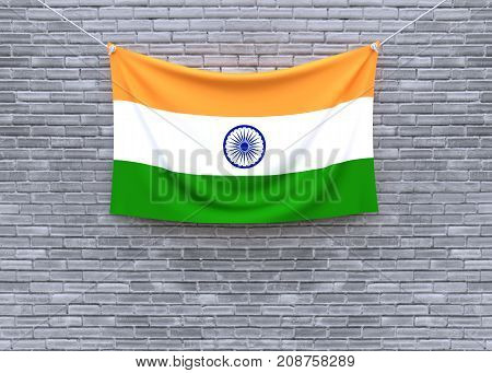 India flag on brick wall. 3D illustration