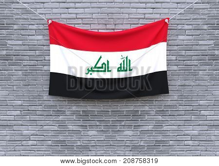 Iraq flag on brick wall. 3D illustration