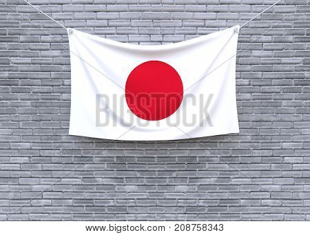 Japan flag on brick wall. 3D illustration