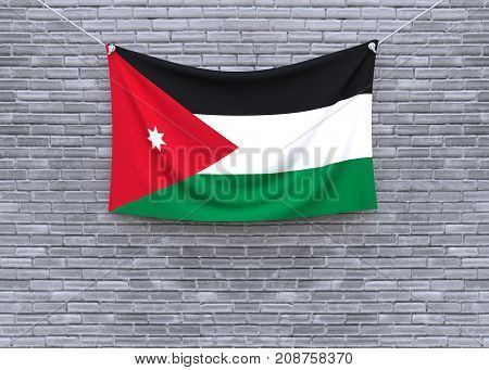 Jordan flag on brick wall. 3D illustration