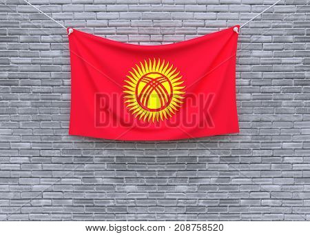 Kyrgyzstan flag on brick wall. 3D illustration