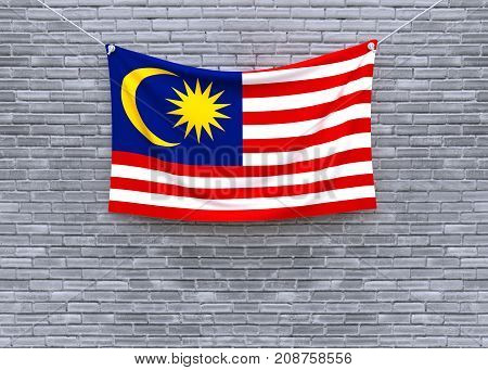 Malaysia flag on brick wall. 3D illustration