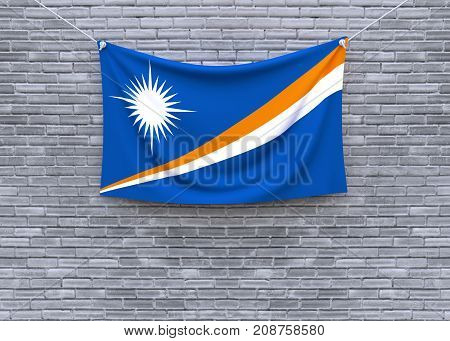 Marshall flag on brick wall. 3D illustration