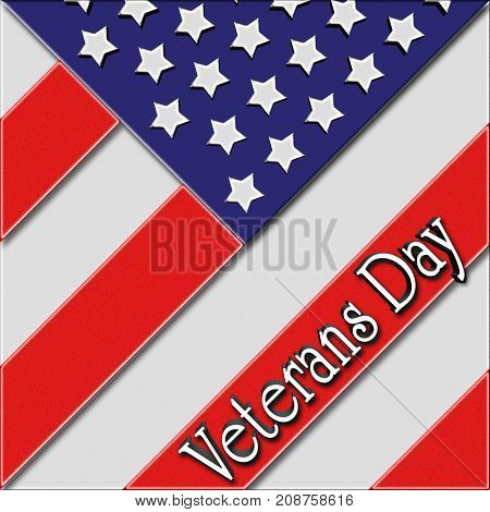 Veterans Day, 3D Illustration, American Flag, Honoring all who served, American holiday template.