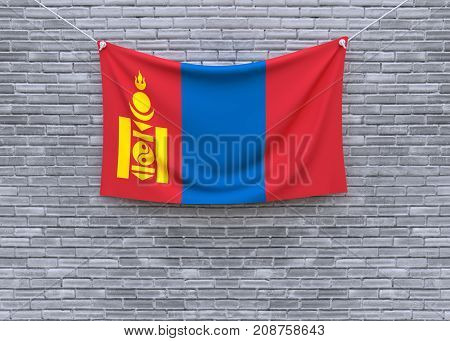 Mongolia flag on brick wall. 3D illustration