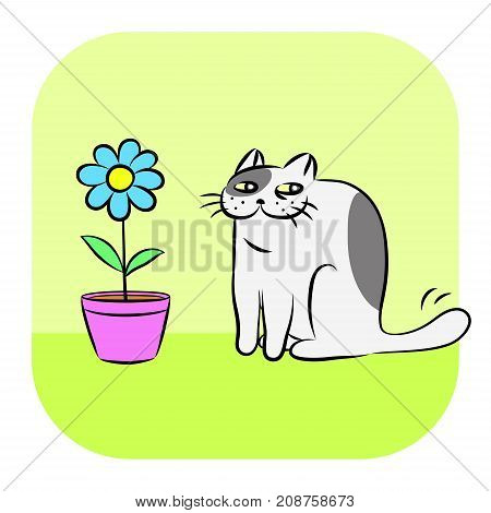 Flower and tomcat. Funny cool cartoon fur character. Contour digital drawing cute cat. Green color background. Cheerful pet for graphic design web icons and shirt. Isolated vector illustration.
