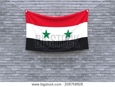 Syria flag on brick wall. 3D illustration