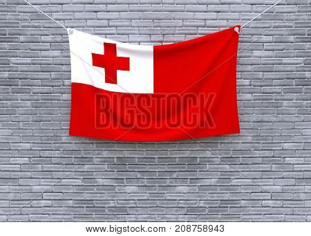 Tonga flag on brick wall. 3D illustration