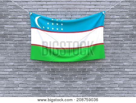 Uzbekistan flag on brick wall. 3D illustration