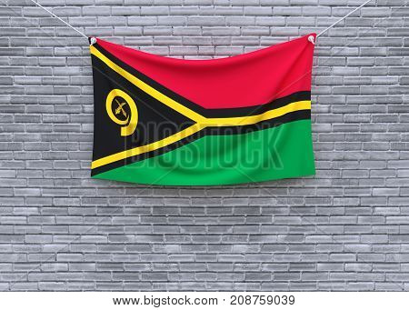Vanuatu flag on brick wall. 3D illustration