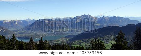 Annecy lake Mont-Blanc Tournette mountains landscape from semnoz near Annecy savoy france