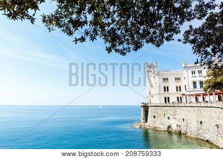 Panoramic view on Miramare castle on the gulf of Trieste on northeastern Italy