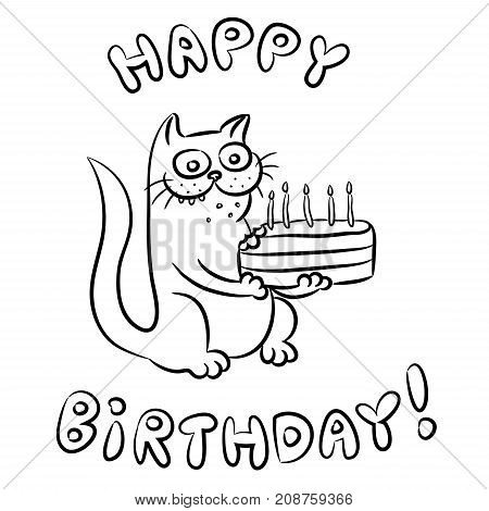 Cat congratulates Happy Birthday and present a cake. Vector illustration