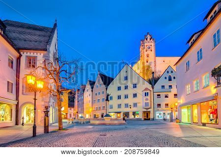 St. Mang Basillica In Fussen Town At Night In Bavaria, Germany