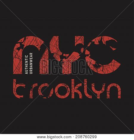 New York Brooklyn t-shirt and apparel vector design print typography poster emblem. poster