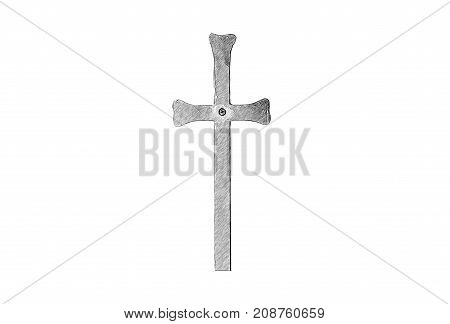 Drawing of a Christian cross in vector format