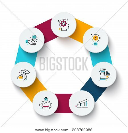 Vector heptagon with circles for infographic. Template for cycle diagram, graph, presentation and round chart. Business concept with 7 options, parts, steps or processes. Data visualization.