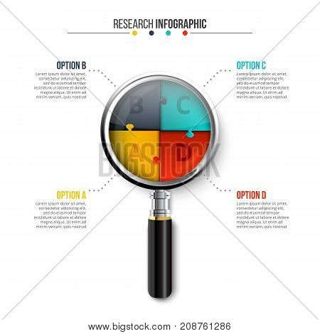 Vector magnifier with puzzle for infographic. Template for cycle diagram, graph, presentation and round chart. Researh concept with 4 options, parts, steps or processes.