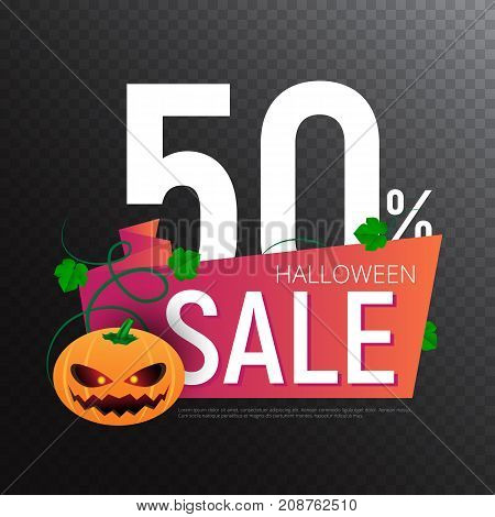 Happy Halloween Sale Vector Banner Or Sticker Design Template With Leaves And Pumpkin