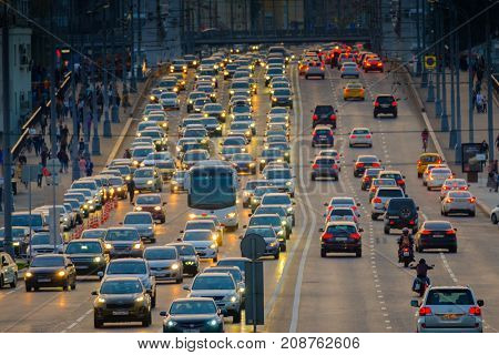 Moscow, Russia - September 9, 2017: Night traffic on the highway in the city