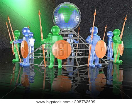 Color armed men with globe on black background 3D illustration.